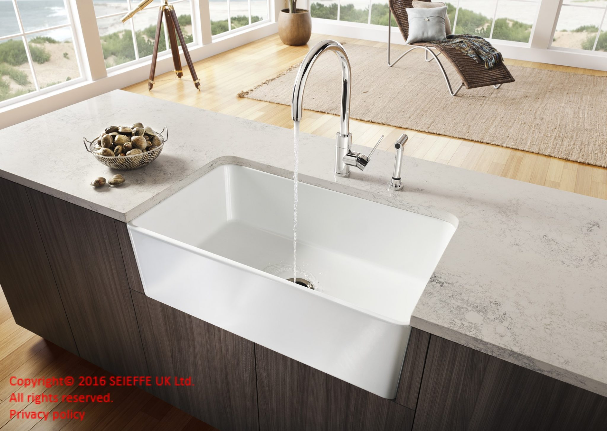 Okite kitchen top Bianco Carrara 1896